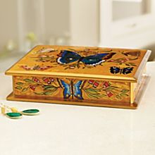 Handcrafted Peruvian Reverse-Painted Butterfly Box
