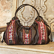 Bolivian Textile and Leather Bag