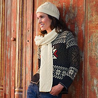 Irish Aran Hat and Scarf Set