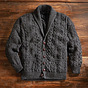 Men's Aran Shawl-collar Cardigan