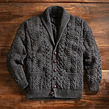 100% Wool Men's Aran Shawl-Collar Cardigan