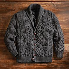 Aran Knit Wool Cardigan