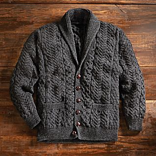 View Men's Aran Shawl-collar Cardigan image