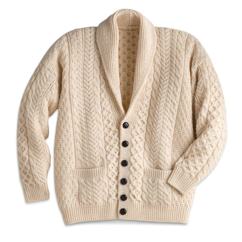 Mens Shawl Collar Sweater Knitting Pattern : Mens Aran Shawl-collar Cardigan - National Geographic Store