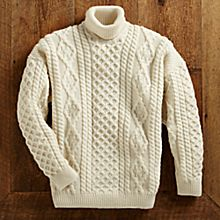 Men's Irish Aran Turtleneck Sweater, Made in Ireland