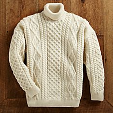 Irish Aran Natural Mens Sweater