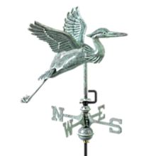 Handcrafted Blue Heron Weather Vane with Garden Pole