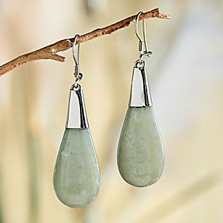 View Guatemalan Jade and Sterling Silver Earrings image