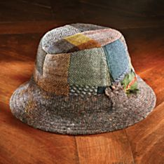 Donegal Tweed Wool Patchwork Walking Hat, Made in Ireland