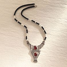West African Silver and Onyx Tuareg Necklace