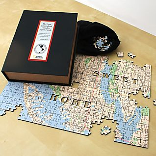 View Personalized Hometown Wooden Jigsaw Puzzle image