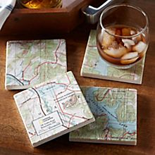 Personalized'my Town' Topo! Map Coasters - Set of 4