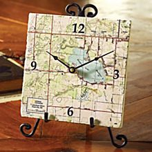 Personalized'my Town' Topo! Map Clock