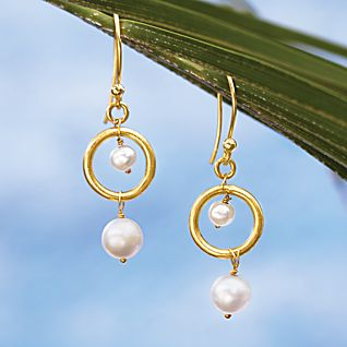 Double Pearl Hoop Earrings