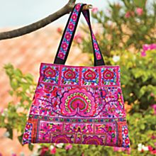 100% Cotton Thai Embroidered Flower Bag