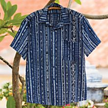 100% Cotton Handwoven Men's Guatemalan Ikat Shirt
