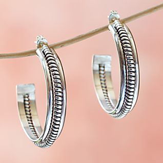 Diné Silver Hoop Earrings