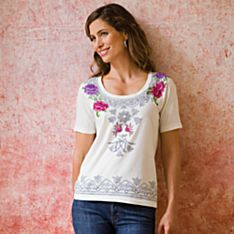 100% Cotton Embroidered Kolam-Inspired Tee