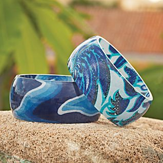 View Blue Paisley Batik Bangle image