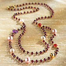 Handcrafted Jaipur Pearl and Garnet Necklace