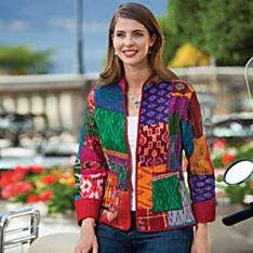 Women's Silk Sari Patch Jacket