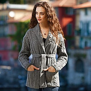 View Irish Aran Belted Sweater Jacket image