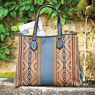 Blue and Tan Inca Pattern Tote