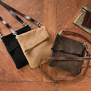 British Cross-body Suede Bag