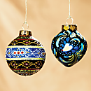 Uzbek Ceramic Hand-painted Ornaments - Set of 2