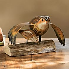 Wooden Hand-Carved Bobwhite Quail and Chick
