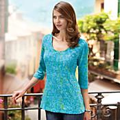 Turquoise Batik Empire-waist Shirt
