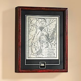 Framed Gettysburg Map and Authentic Civil War Bullet