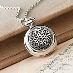 Celtic Knot Pewter Pendant Watch, Crafted in England