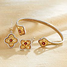 Handcrafted Indonesian Garnet Filigree Earrings