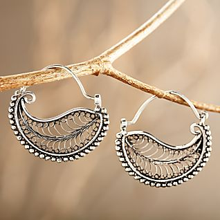 Indonesian Filigree Hoop Earrings