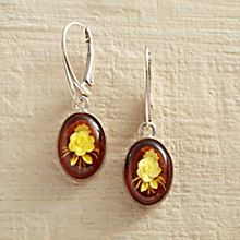 Handcrafted Amber Intaglio Rose Earrings