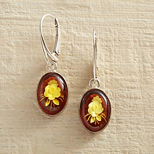 View Amber Intaglio Rose Earrings image