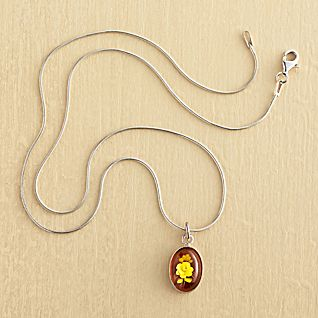 View Amber Intaglio Rose Necklace image