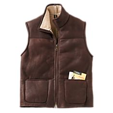 Mens Leather Travel Vest