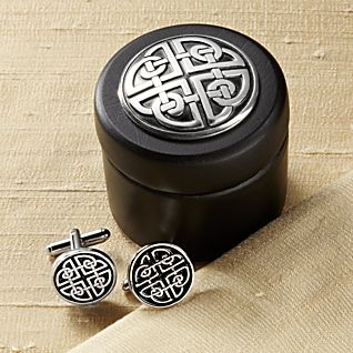 Celtic Cufflinks in Wooden Box