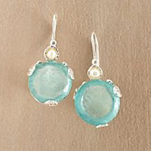 Roman Glass and Pearl Earrings