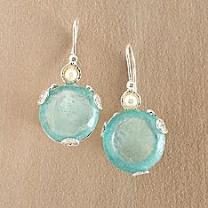 Handcrafted Roman Glass and Pearl Earrings
