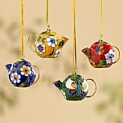 Cloisonne Teapot Ornaments - Set of 4