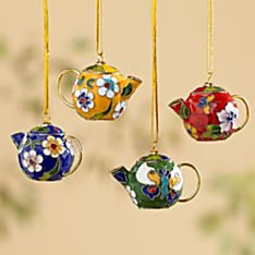 Cloisonné Teapot Ornaments - Set of 4