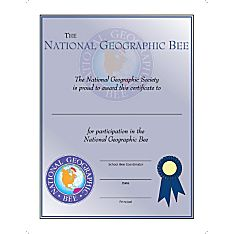 National Geographic Bee Student Participation Certificate - Pack of 10