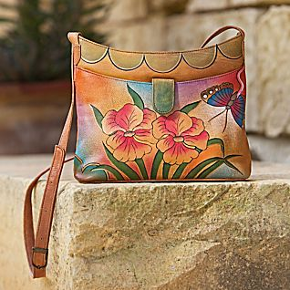 Victoria Garden Hand-painted Leather Bag