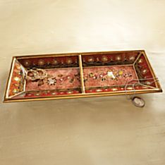 Handcrafted Peruvian Reverse-Painted Glass Tray