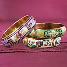 Hand-Painted Sarai Tareen Garden Bracelets - Set of 3