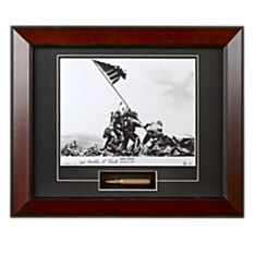 Historic Signed Iwo Jima Photograph with Bullet