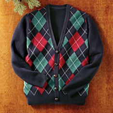 Men's Scottish Lamb's-Wool Argyle Cardigan